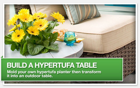 Build a Hypertufa Table. Mold your own hypertufa planter then transform it into an outdoor table.