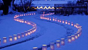 Luminaries along path