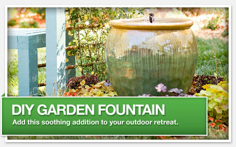 DIY Garden Fountain. Add this soothing addition to your outdoor retreat.
