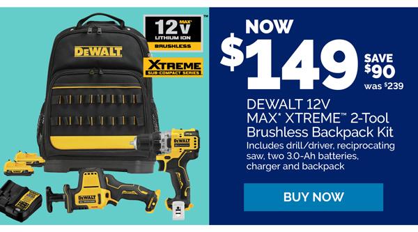 Save $40 on Dewalt 12 Volt Max XTREME 2 Tool Brushless Backpack Kit. $199 was $239.